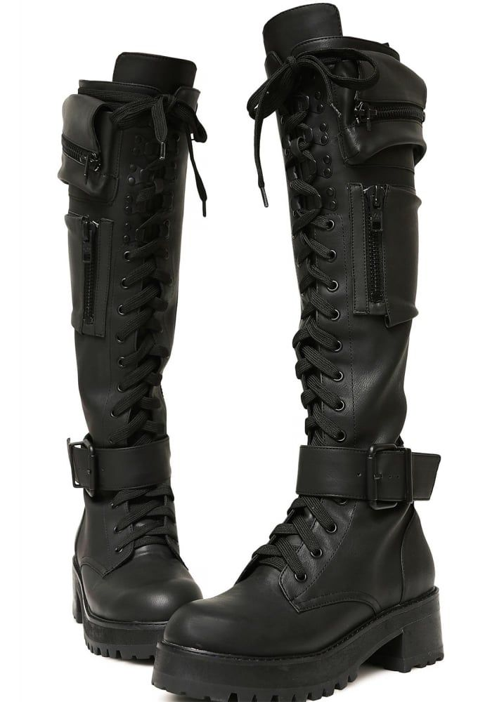 8968889d4120 Obsidian Pocket Knee High Combat Boots