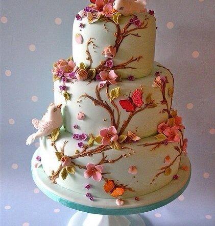 nature themed wedding cakes | nature themed wedding cake - love it! | Vintage Weddings - Sweet Trea ...