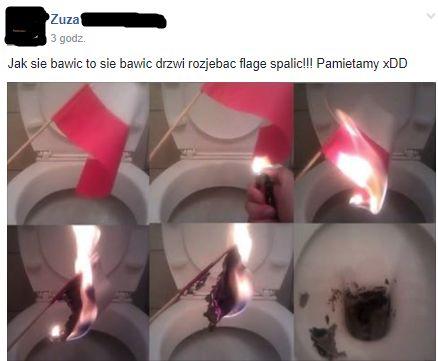 Spaliła flagę Polski i wyrzuciła do kibla – Facebook nie widzi problemu.