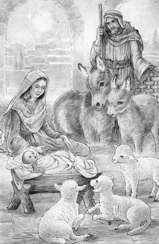 Vintage Christmas Card Nativity 738
