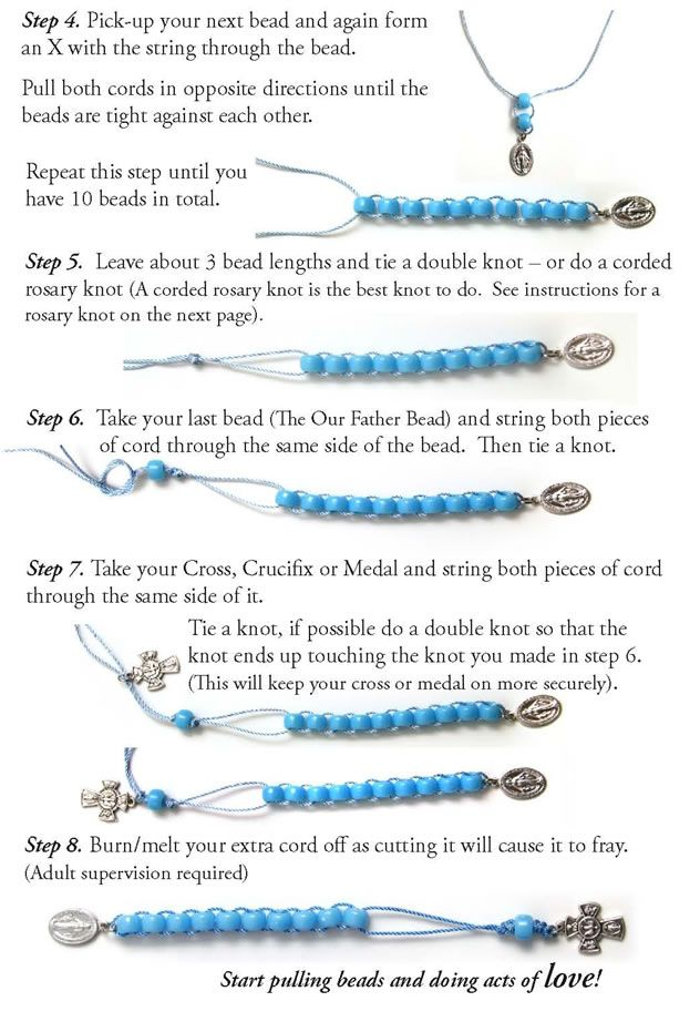 With all due respect to those of the Catholic faith...I think this would also be a great way to make a row counter bracelet.  I really do pray while I knit, so it's kind of the same thing!