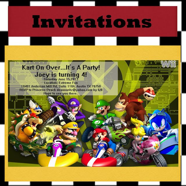 20 best images about Tys 4th birthday – Mario Kart Party Invitations