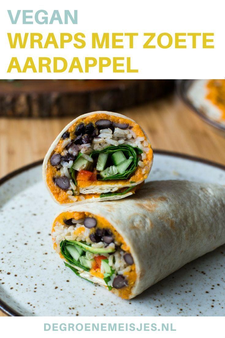 Wraps zijn ALTIJD goed. Maak dit vegan recept voor heerlijke wraps met een zoete aardappelvulling, spinazie, paprika, komkommer, zwarte bonen, rijst, komijnpoeder, paprikapoeder en chilipoeder van De Groene Meisjes #vegan #wraps #zoeteaardappel