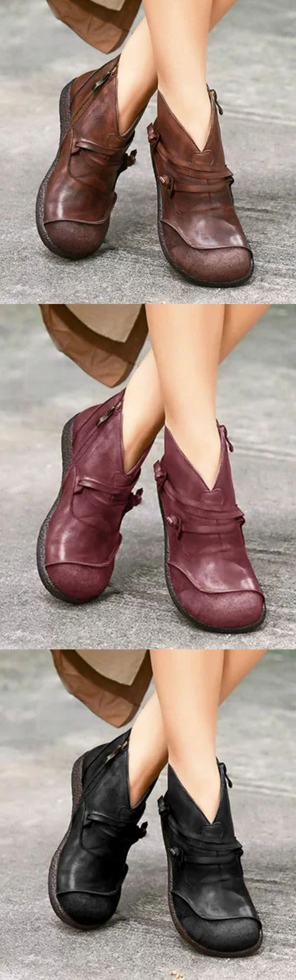 64% Off>>Flat Heel Spring Casual Pu Leather Boots