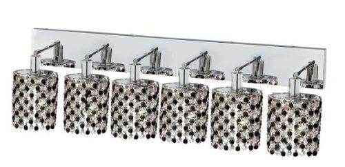 Elegant Lighting 1386W-O-E-JT/RC Mini 13.5-Inch High 6-Light Wall Sconce, Chrome Finish with Jet (Black) Royal Cut RC Crystal by Elegant Lighting. $879.99. From the Manufacturer                This Mini Chandelier is made of 100% Royal Cut RC Crystal. Royal Cut is a combination of high quality lead free machine cut and machine polished crystals & full-lead machined-cut crystals to meet a desirable showmanship of an authentic crystal chandelier. Elegant Lighting is a manufactur...