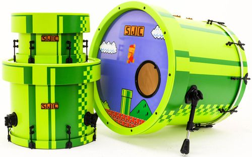 SJC Custom Drums — New Mario themed drum kit we just finished up for...