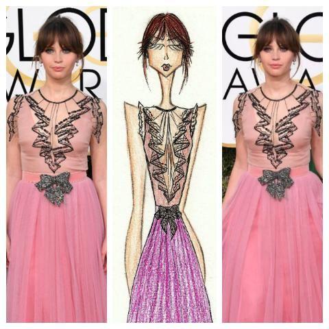 Felicity Jones - Golden Globe Dress: Gucci