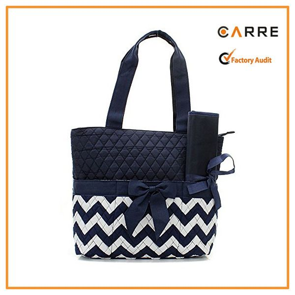 cotton tote mother baby chevron quilted diaper bags