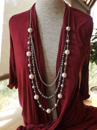 Long Pearl Necklace Opera Length Necklace Rope por hookandline