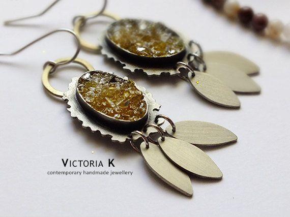 Golden yellow earrings, like citrine druzy jewelry, boho yoga earrings
