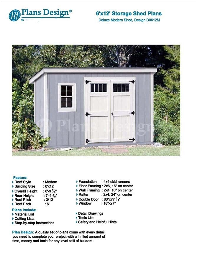6 X 12 Deluxe Back Yard Storage Shed Project Plans Modern Roof Style D0612m 610708151944 Ebay Roof Styles Shed Building A Storage Shed