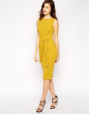 ASOS Pencil Dress with Tie Front in Crepe