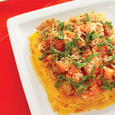 Spaghetti Squash & Turkey Sausage Casserole-We use sweet italian turkey sausage...one of my favorite meals!