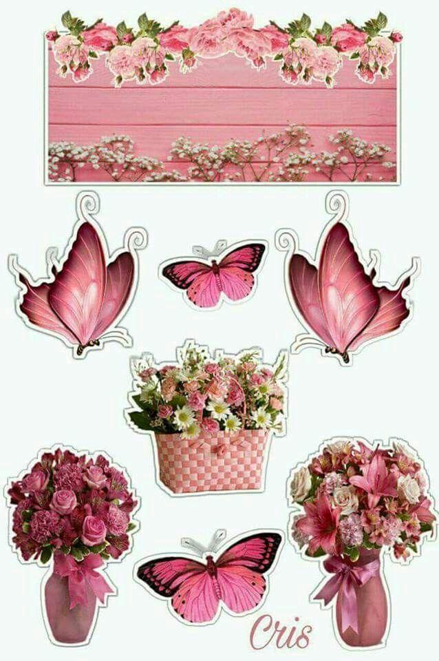 Floral Butterfly Printable Bolo Jardim Das Borboletas