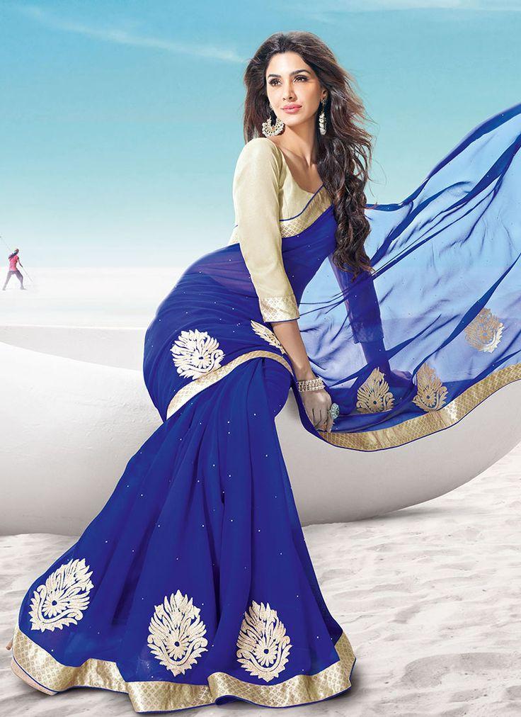 Cbazaar Gorgeous Sonakshi R Rajkumar Blue Georgette Saree