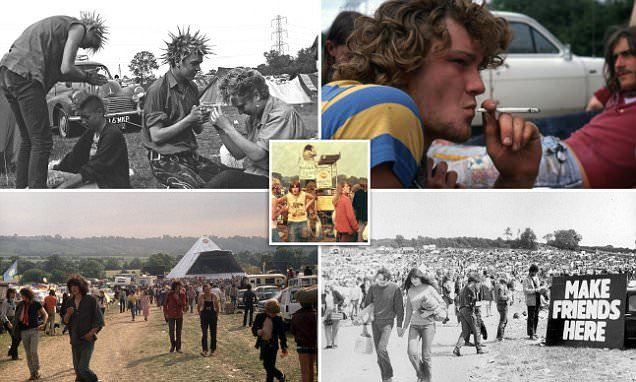 How we used to let our (unwashed) hair down: Incredible nostalgic photos from the 60s, 70s and 80s show a time when music festivals were…