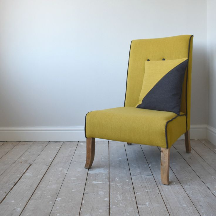 Mid-Century Style Re-Upholstered Mustard & Grey Chair + Free Scatter Cushion by WagnerBirtwistle on Etsy
