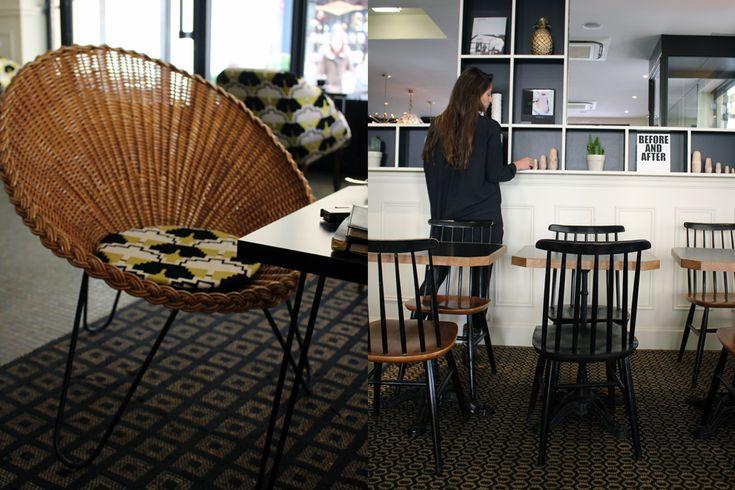 Fauteuil en rotin années 50 - imprimé ethnique - chaise Tapiovaara - La Petite Place - Agence Favorite