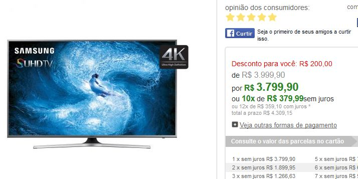 "Smart TV LED Samsung Nano Cristal 55"" Ultra HD/4k 55JS7200 WiFi Multi Link ScreenConexoes HDMI e USB << R$ 379990 em 10 vezes >>"