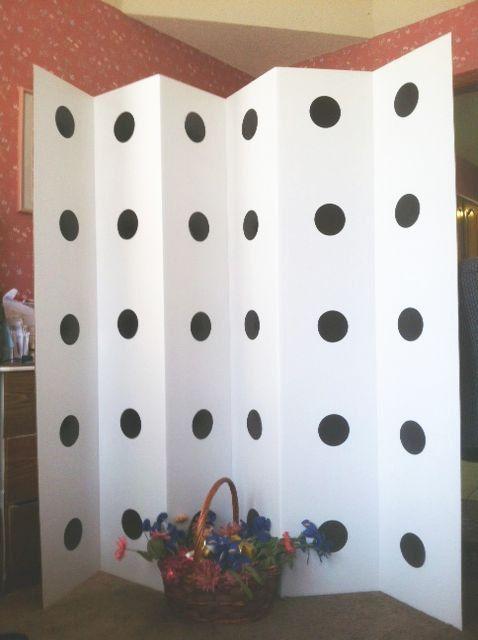 Black Polka Dot Room Divider Privacy Screen ROOM DIVIDER - Diy cardboard room divider privacy screen