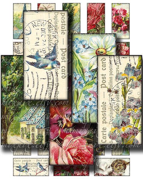vintage postcards 1 x 2 inch domino tile pendant images Printable Download Digital Collage Sheet bird flower diy altered art jewelry