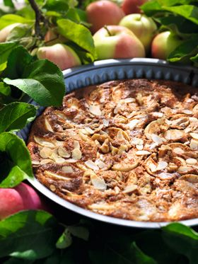 Superskøn Lavkarbo-tærte med æbler, nødder og hytteost!
