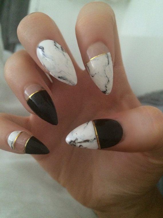 Mono Marble x monochrome marble nails gold detail false nails