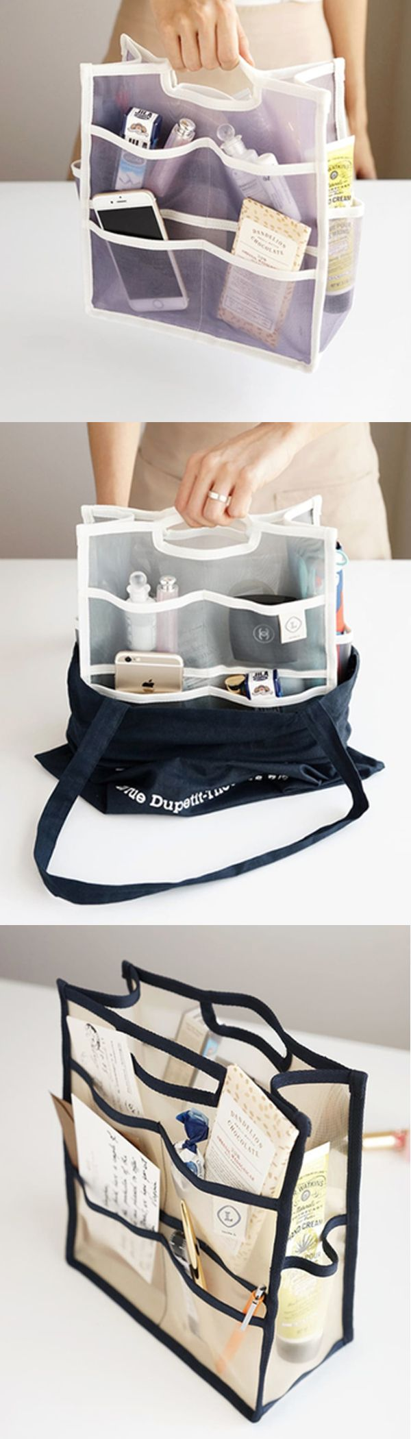 If your large purse gets messy with lots of daily essentials, the Large Mesh Purse Organizer will be a definite help! With large compartment and many pockets, organize your items neatly and you can say farewell to the messy purse!