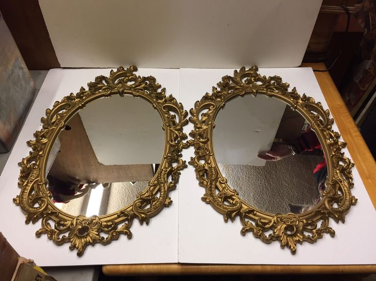 "2 PAIR Vintage Ornate SYROCO GOLD WALL MIRRORS Hollywood Regency Mid Century | eBay Frames- 28"" x 18""   Mirrors- 18"" x 13"" Sold $165 3/2017"