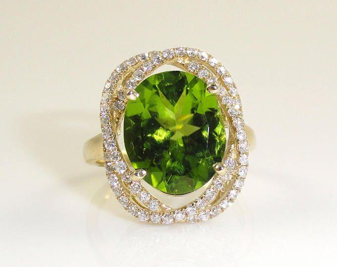 5.17 anillo de Peridot Natural quilates con Halo doble diamante en 14K oro amarillo (12949)