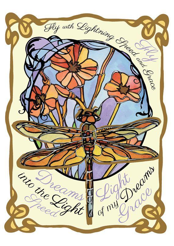 Dragonfly Art Nouveau Original Fine Art Print Large Print Colorful Home Decor 11x17