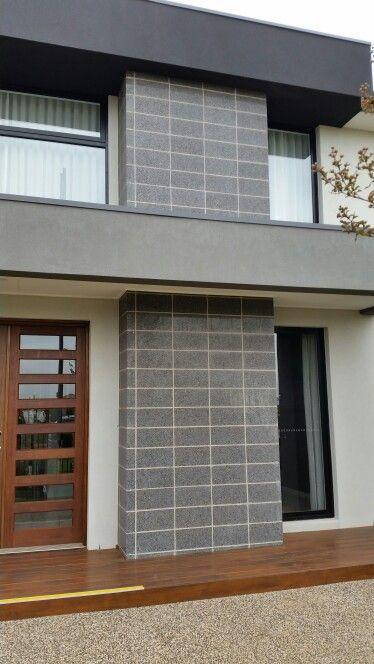 Feature cement block pillar in darker grey