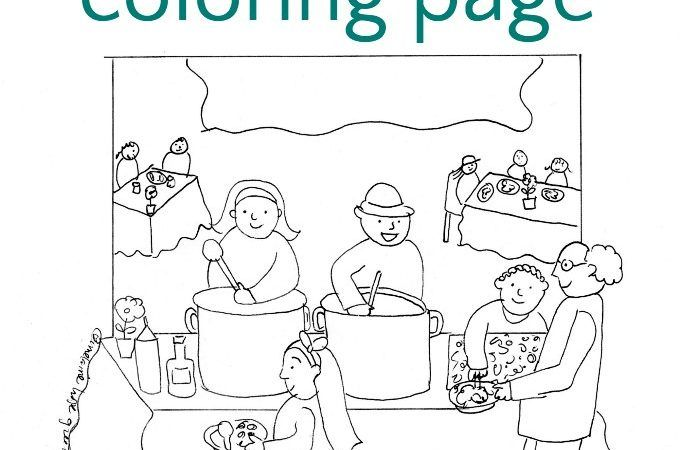 Soup Kitchen Coloring Page Coloring Pages Kids Playing