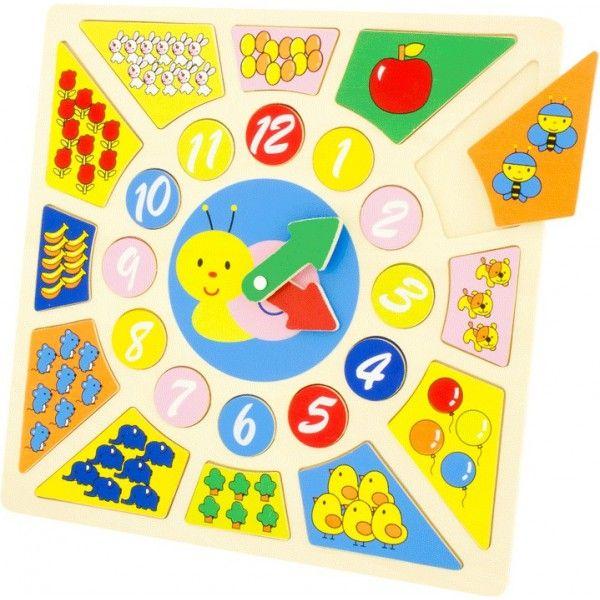 Aidez votre enfant à apprendre à compter et à lire l'heure grâce à ce beau puzzle horloge en bois. Chaque pièce est numérotée ou comporte des dessins, et peut être déplacée. Les aiguilles tournent pour un apprentissage plus ludique. Les couleurs vives de ce puzzle rendent le tout très attractif pour l'enfant.  Dimensions: 30 x 30 cm
