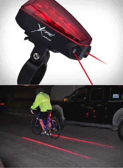 Bike light. Creates a laser bike lane so cars leave you enough space.