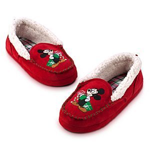 Disney Mickey Mouse Slippers for Adults - Holiday | Disney StoreMickey Mouse Slippers for Adults - Holiday - Give your feet a gift and wrap them up in these holiday slippers. Mickey makes his presence felt on the front of these suede moccasins that feature a soft faux sheepskin lining and padded plaid footbed.