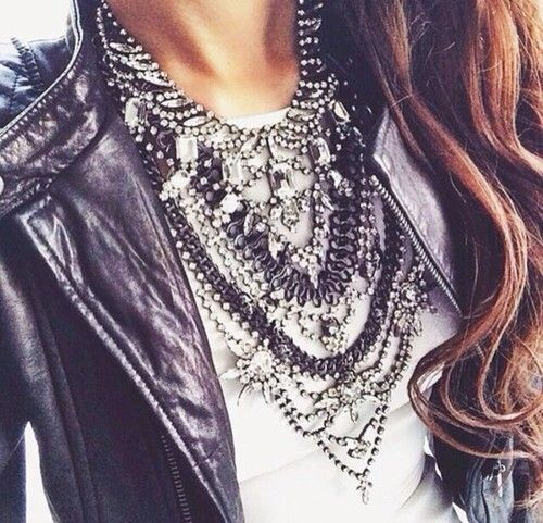 Make a T-shirt interesting and chic. Love this touch of rock and glam.