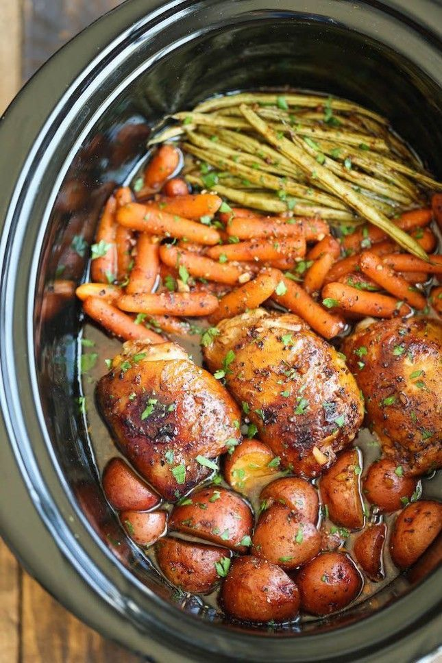 You can make a healthy dinner by following this Honey Garlic Chicken + Veggies crockpot recipe.