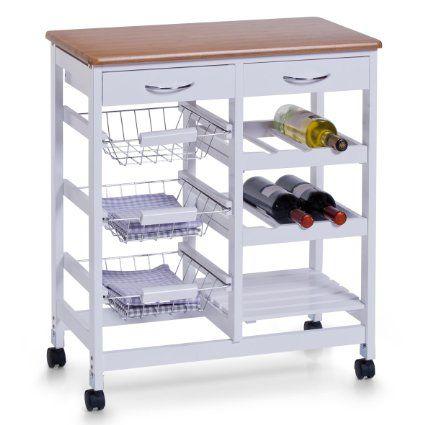 Zeller 13774 Küchenrollwagen, Mitteldichte Holzfaserplatte (MDF), 66 x 36 x 76 cm, weiß/Bamboo-Dekor
