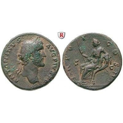 Römische Kaiserzeit, Antoninus Pius, Sesterz 139, ss: Antoninus Pius 138-161. Messing-Sesterz 32 mm 139 Rom. Kopf r. mit… #coins