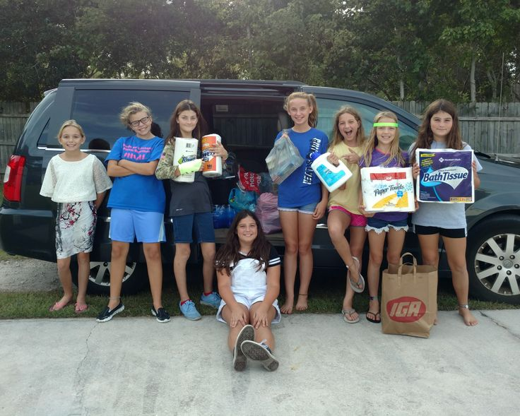 Girl Scout Troop #515 grouped together with Troops #731, #1000, #3780, #4811, and #11728 to collect hurricane relief supplies. Hurricane Harvey donations went to Pine Knoll Shores Police Department, Hurricane Irma donations went to Crystal Coast Real Estate, and online donations were made to Puerto Rico. Way to make a difference, Girl Scouts!