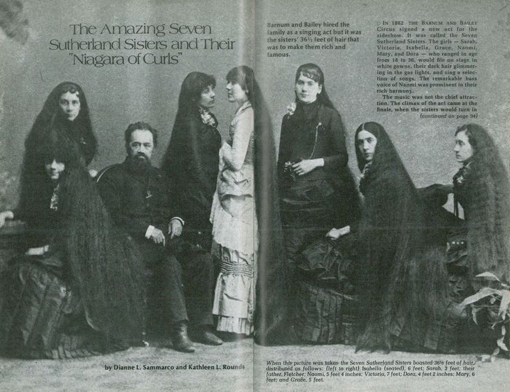 The Seven Sutherland Sisters have a family history story you have to read to believe.