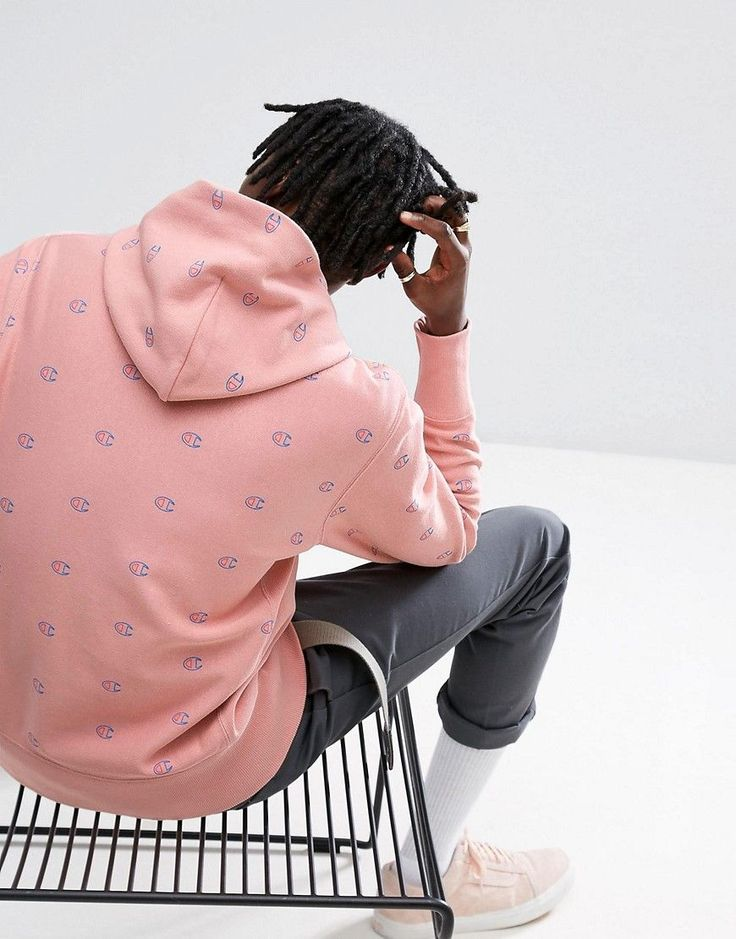 Champion Hoodie With All Over Logo Print In Pink Exclusive To ASOS - P