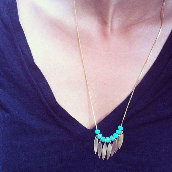 collier plume et turquoise ...