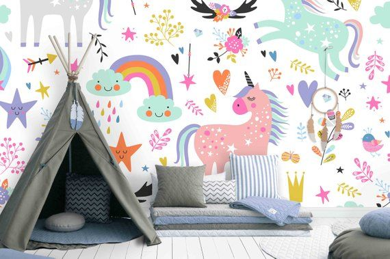 3d Unicorn Removable Wallpaperpeel And Stick Wall Mural Etsy Kids Wall Decals Nursery Wall Stickers Kid Room Decor