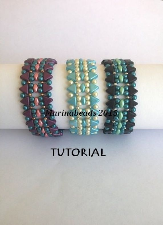 Please note that this listing is for the tutorial ONLY in ENGLISH !  Step by step beading instructions with pictures. This document includes the cover and 4 color pages. Size is adjustable by adding or omitting motif.  The bracelet is 2cm width  The bracelet is made with Kheops beads ,Superduo and seed beads.
