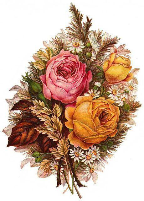 Victorian Flowers Sticker.....❤