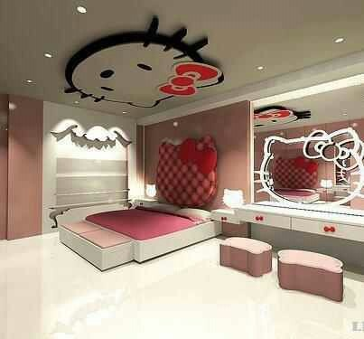 Hello Kitty Bedroom. Hello Kitty headboard and mirror