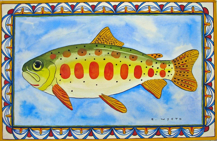 Ellie Wyeth, Place Mat - Fish w Sunrise Border
