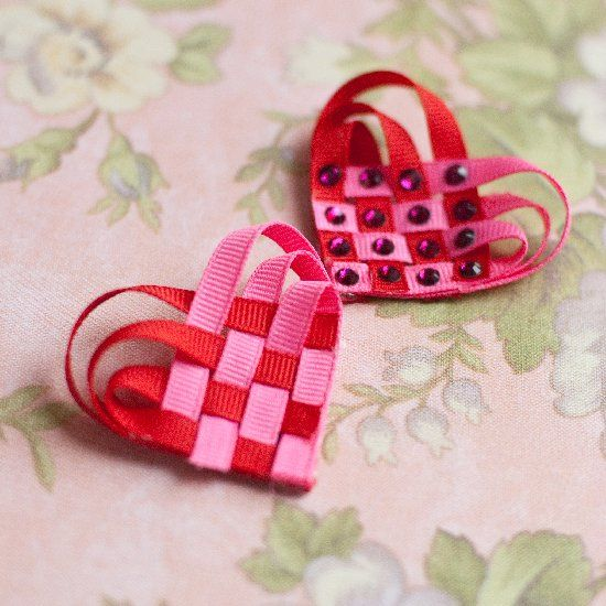 """Use just a bit of ribbon and glue and """"weave"""" yourself up some love with these pretty ribbon hearts."""